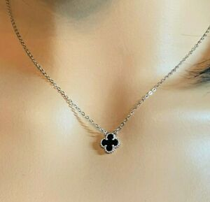 Clover Necklace Sterling Silver (10mm) Black Onyx Clover