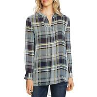 Vince Camuto Womens Plaid Band Collar Blouse Tunic Top Shirt BHFO 3497