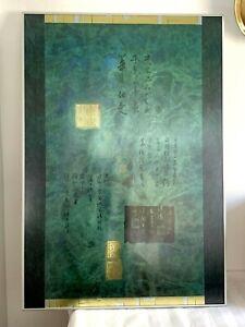 """Max Hayslette 'Asian blue' Framed Print 39"""" x 27"""" Vintage 1990"""