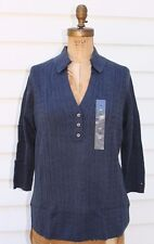 Tommy Hilfiger~NWT~dusty BLUE collared V neck cable sweater~1X 14W 16W R$89