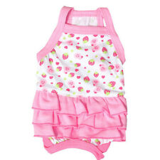 Pink Cute Dog Dress Clothes Cotton Pet Cats Puppy Skirt Small Dogs Clothing S-L