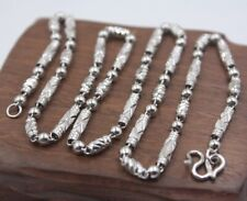 Solid 925 Sterling Silver 3.5mm Tube with Bead Link Chain Necklace 17.7INCH