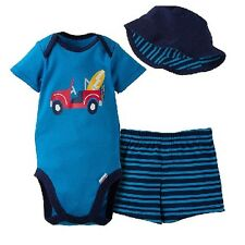 Gerber Boy 3-Pc Surfing Onesies, Shorts & Hat Set Size 24M Baby Clothes Gift