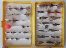 vintage yellow plastic fly box with 40 dry fly lures
