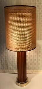 Mid Century Modern Vintage Gruvwood Table Lamp Basket Weave Double Shade c1964