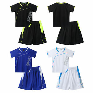 2Pcs Kids Boys Summer Breathable Sport Suit Drawstring Running Exercise Outfits