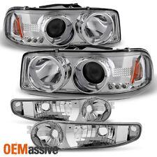 Fits 01-06 Sierra Yukon XL Denali Chrome Halo LED Headlights+Bumper Signal Light