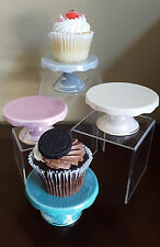 NEW Graces Teaware Pastel Pink Blue Gray Yellow Mini Cupcake Pedestal Stands
