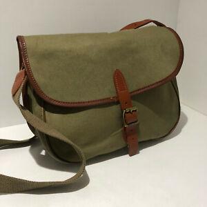 Chapman style green canvas tan leather fishing shooting hunting bag VGC classic