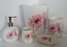 Bathroom 5 Piece Acc Set with Waste Bin Dispenser Soap Dish white floral + BONUS
