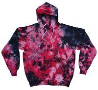 Black & Red TIE DYE HOODIE Sweater Tye Die T Shirt Festival Grunge Rainbow Tee