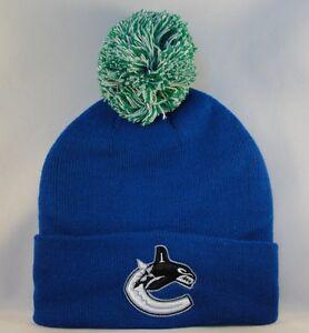 Vancouver Canucks NHL Zephyr Cuffed Knit Pom Hat Blue