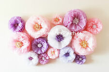 Oversized paper flowers 15 units!! Rustic boho wall decor. Blush/Lavender/Pink