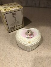 W Precious Moments Heart Trinket Box Porcelain October Opal 2001