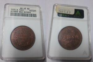 Rare 1894 German New Guinea 10 Pfennig Paradise Bird ANACS MS 63
