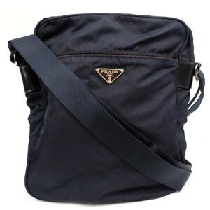 PRADA Nylon Shoulder Bag Triangle with logo Navy