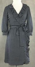 KATE SPADE NEW YORK sz 4 'daniella' Navy Stripe Silk Wrap Tie Sash Dress EUC