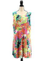 London Times Womens Floral Shift Dress Plus Size 22W 2X Sleeveless Knee Length