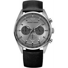 Emporio Armani AR5994 Black Leather Strap Silver Chronograph Mens Watch