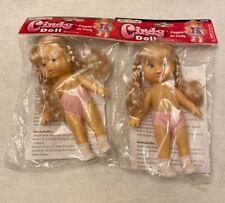 "2 Cindy Doll Blond Hair FibreCraft 6 3/4"" Tall with Dress Crochet Pattern New"