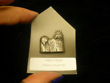 Pekingese dog lapel  pin silver colour clutch back NEW 1970's pewter (?)