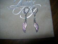 Kirks Folly Free Spirit Angel Wing Earrings Silvertone