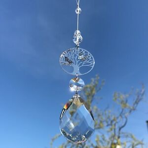 New Hanging 3D Tree of Life Sun Catcher with Large Glass Crystal Drop Gift Idea