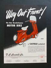 RARE Vtg 1954 Color Ad - Castelli Pedal Motor Bike - Vespa Style Pedal Toy