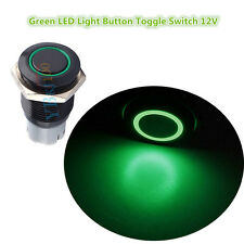 16mm 3A 12V Car Push Button Toggle ON-OFF Metal Green LED Light Switch