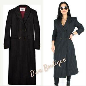 Zara AW 2019/20 Wool Blend Pinstripe Coat Dress Size M Free P&P RRP 129£