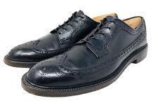 Vintage French Shriner Avenue Wingtip Brogue Pebbled Black Shoes Men's Sz 10.5 A