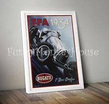 Vintage automobile poster voiture racing motorsport 50s 60s-A4 bugatti spa 1934 dreyfus
