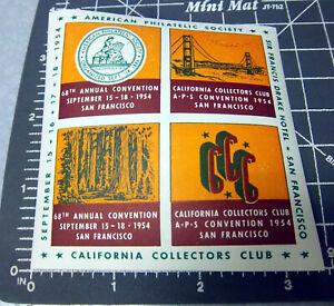 USA Stamp Philatelic Society 68th Conv San Francisco 1954 Red Souvenir sheet