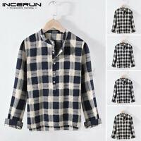 Mens Casual Long Sleeve T-shirt Tops Henley Grandad Collarless 100%Cotton Shirts