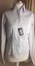 Ladies *NEW* T.M.Lewin Double Cuffed White Blue Pinstripes Cotton Shirt Size 10