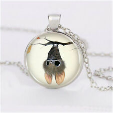 Kawaii little bat Cabochon Tibetan silver Glass Chain Pendant Necklace