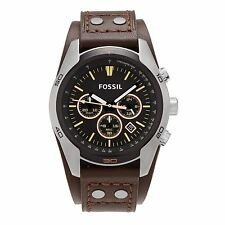Cuff Leather Band,Chronograph Watch Ch2891 New Fossil Coachman Silver Tone,Brown