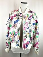 TAIL Womens X Large White Multi Color Golf Theme Print Lightweight Zip Up Jacket