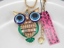 Owl Necklace Betsey Johnson, Blue, Green & Gold, FREE Gift Necklace with Order