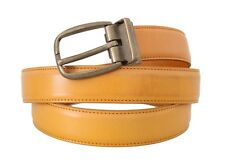 NEW $350 DOLCE & GABBANA Belt Yellow 100% Leather Gold Buckle s. 100cm / 40in