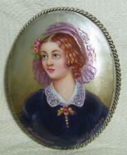 "Lacquer brooch Mother of pearl "" Lola Montez "" miniature Hand Painted Pin"