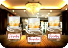Whiskey In A Glass 12 Edible STANDUP Cake Toppers Decoration Drink Alcohol