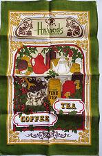 Vtg HARRODS Souvenir Dish Tea Kitchen Towel by Ulster Coffee Tea Knightsbridge