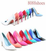 Women's Bridal Sexy Color Pointed Toe Patent Pump Heels Shoes Size 5.5 - 11 NEW