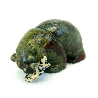 Grizzly Bear with Fish Ornament Hand Carved Dragons Blood Jasper Statue 6cm