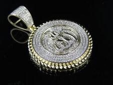 "10k Yellow Gold Allah Medallion Style Genuine Diamond Pendant Charm 1.5 Ct 1.6"""