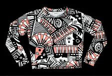 Monki Women XS L/S Shirt - Piano Abstract Picasso Pink Black Surrealism Eyes