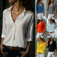 Fashion Women's  Solid T Shirt Office Ladies Casual Plain long Sleeve Blouse Top