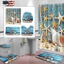 US Ocean Starfish Shower Curtain Bathroom Non-Slip Bath Mat Rug Lid Toilet Cover