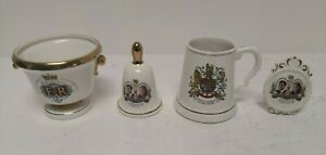 4 Vintage Royal Wedding Silver Jubilee Commemorative Mantelpiece Ornaments  D33